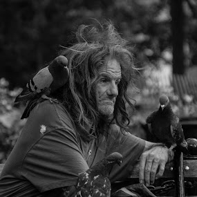 Bird Man by VAM Photography - Black & White Street & Candid ( pigeons, b&w, park, nyc, birds, man,  )