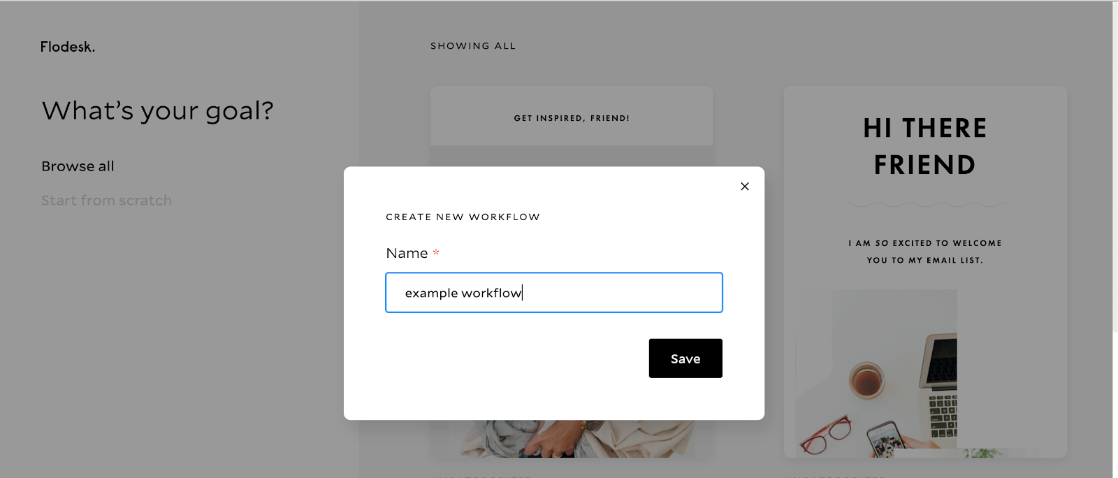 Naming your workflow in the pop-up, Flodesk