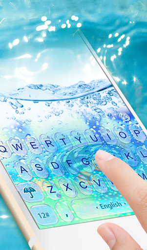 Water Keyboard -  Blue Glass Water Keyboard Theme 6.2.22.2019 screenshots 1