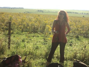Photo: Joanna was about to take our group photos... the field behind her is full of the ragwort which we were about to encounter close up!....