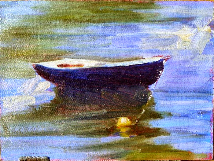 Photo: Dinghy 6X8 oil on canvasboard