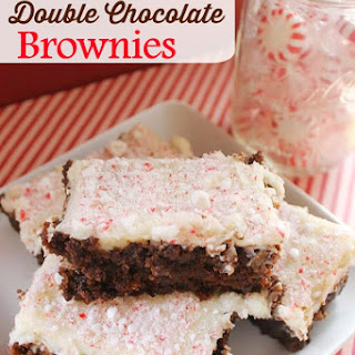Peppermint Double Chocolate Brownies with Cream Cheese Frosting