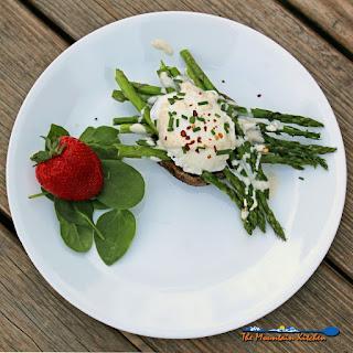Asparagus Eggs Benedict With Portobello Mushrooms & Goat Cheese Sauce.