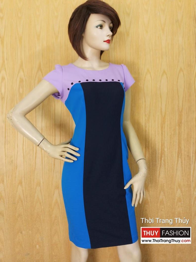 Váy liền bút chì công sở phối 3 màu V611 Thời Trang Thủy Hải Phòng