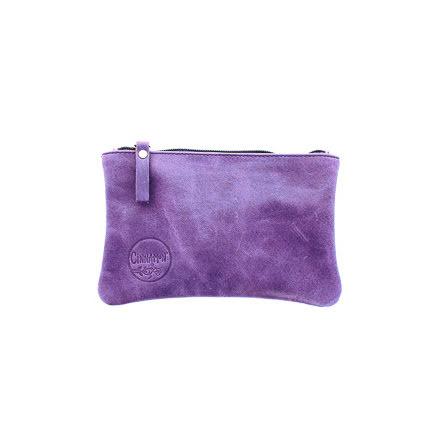 Mini väska lila i skinn med kreditkortsficka