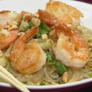 Gluten-Free Asian Noodle Salad with Sauteed Shrimp.