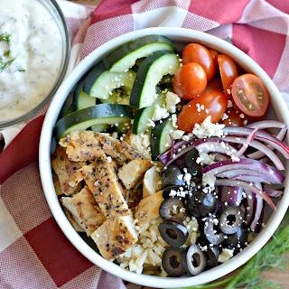 Greek Salad Bowl with Tzatziki Dressing.