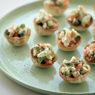 Goat Cheese, Avocado and Smoked Salmon Cups.