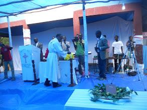 Photo: Rev. Yonas led the worship service.