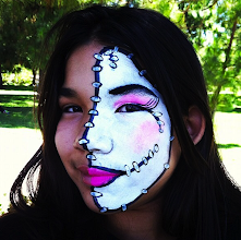 Photo: Half stitched on doll face by Tess in Upland, ca Call to Book Tess at 888-750-7024