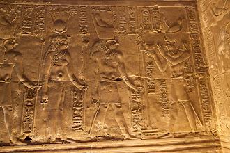 Photo: Horus temple, Edfu - Ptolemy IV ? offering to Horus and Hathor