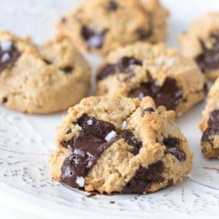 Dark Chocolate Chunk Almond Flour Cookies with Flaked Sea Salt.