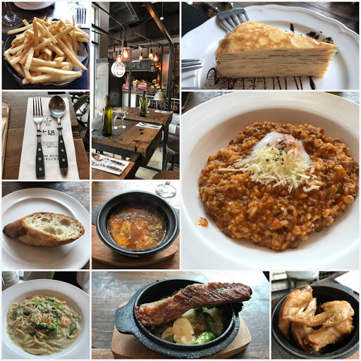 裝潢走工業風設計感, 食器很加分, 但義大利麵和燉飯滿台味路線的🍝