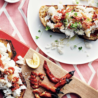 Spicy Roast Chillies And Crab Bruschetta