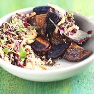 Black Lentil Roasted Purple Potatoes Salad with Cilantro Pesto Vinaigrette