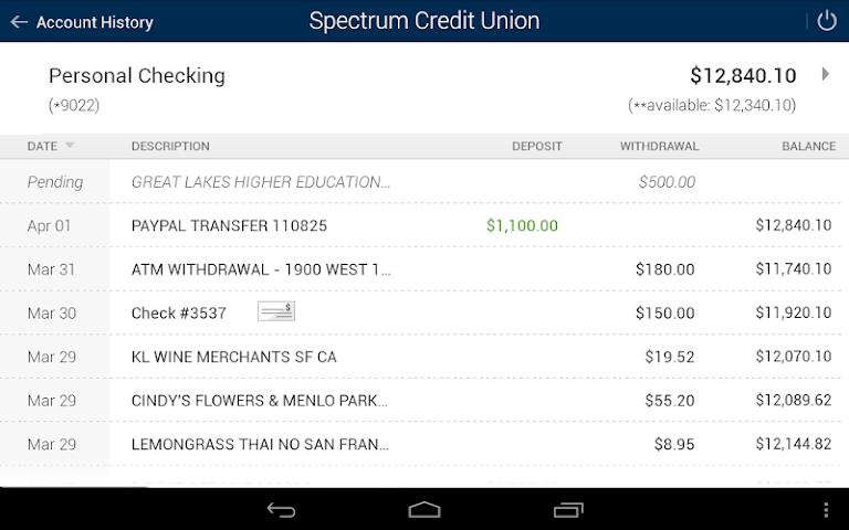 android Spectrum CU Mobile Banking Screenshot 6