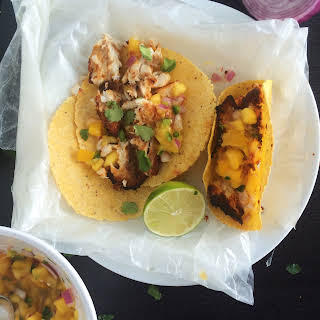 Baked Fish Tacos with Mango Salsa.