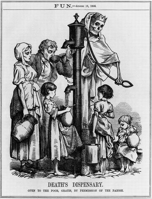 Bức tranh biếm họa được xuất bản trong trận dịch tả ở London năm 1866. Tác phẩm này dựa trên giả thuyết của nhà dịch tễ học người Anh John Snow, người đã liên kết dịch bệnh tả với nước thải thấm vào mạch nước ngầm, năm 1866.