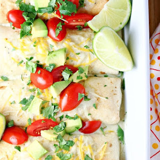 Baked Chicken Chimichangas with Creamy Green Chile Sauce Recipe
