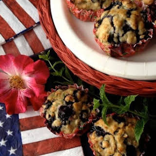 Healthy MINT Blueberry Oatmeal Muffins.