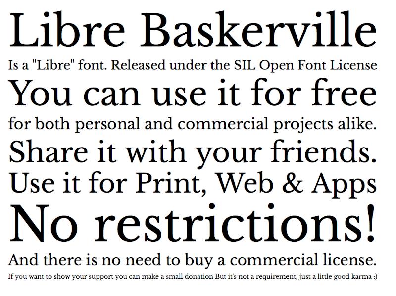 Photo: Libre Baskerville Specimen!