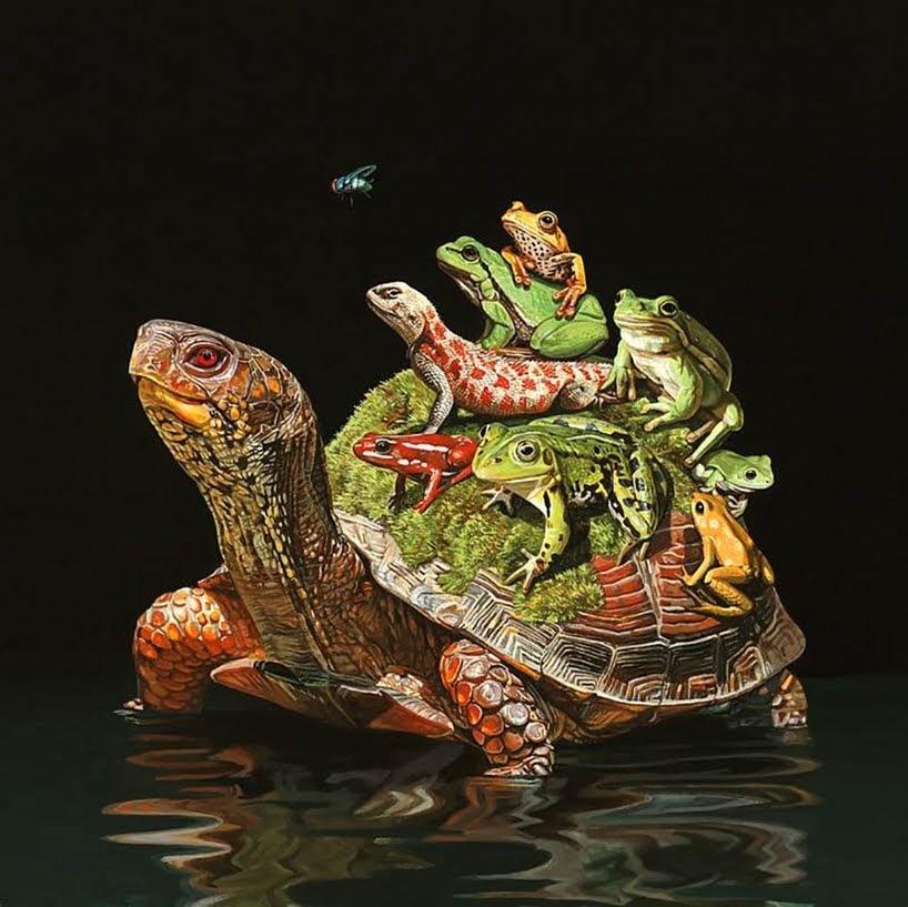 Animales inusuales unidos en pinturas hiperrealistas
