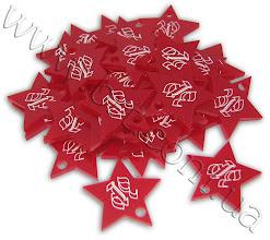 Photo: Фигурные сувенирные шильды. Акрил, лазерная резка. Надрез по контуру, заливка краской. Заказчик: телеканал СТБ