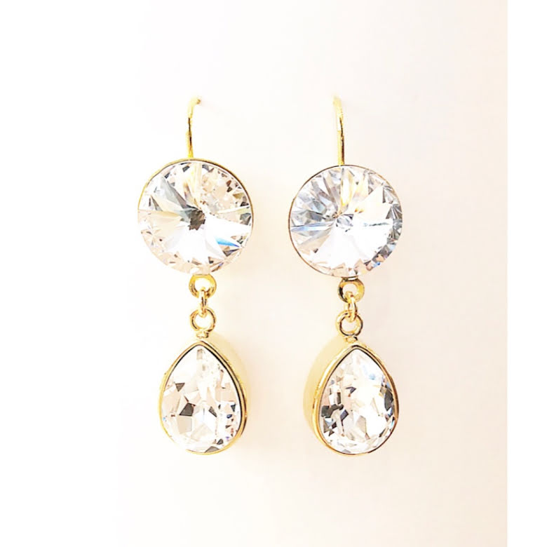 Örhängen med Swarowski® kristaller Double Crystal Sarah Crystal Clear