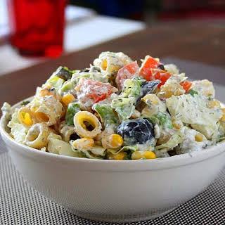 Creamy Pasta Salad with Greek Yogurt Feta Dressing.