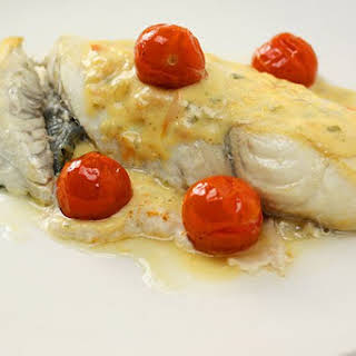 Grilled Fish with Creamy Lemon & Basil Sauce.