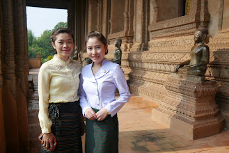 Photo: Laos is also a hot spot for the neighouring Thais. Two Thai ladies all dressed up for their weekend in Vientiane.