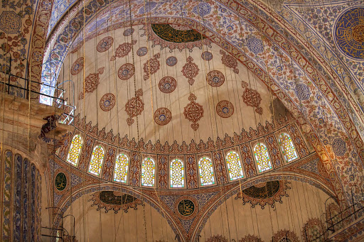 Blue-Mosque-interior-2-1.jpg - A semi-dome with 14 windows inside the Blue Mosque, or Sultan Ahmed Mosque.