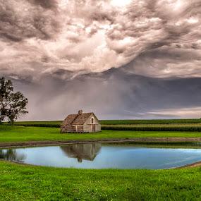 Twisted Skies by Ken Smith - Landscapes Cloud Formations ( barn, thunderstorm, landscape, nebraska )