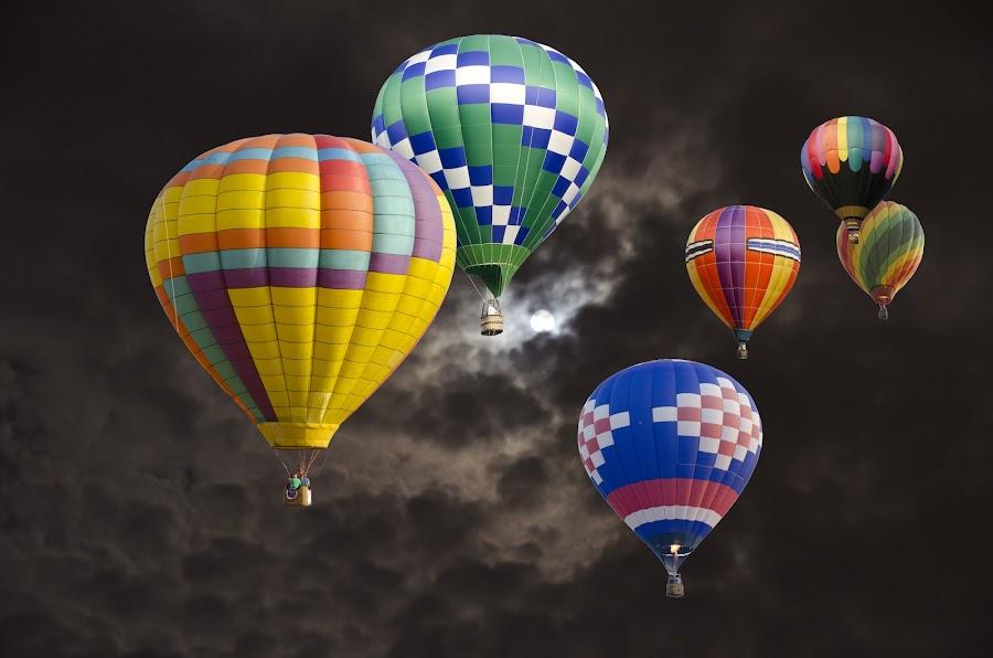 Night Flight by Bruce Stevens - Transportation Other ( callaway gardens, night, balloons )
