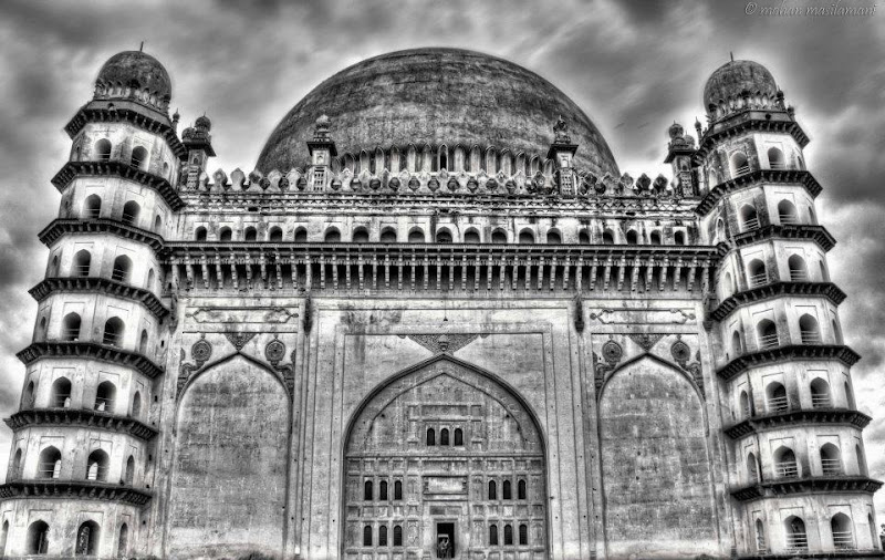 Photo: Gol Gumbuz- Bijapur (India) is the second largest independent dome in the world. This is the place where I grew up !! My contribution for +Monochrome Monday #monochromemonday by +Charles Lupica +Hans Berendsen +Jerry Johnson and +Manuel Votta  #monochrome #india #monument #architecture