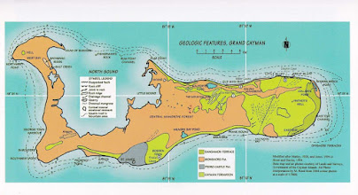 Photo: Geologic features of Grand Cayman. Cayman Formation (on the western peninsula it occurs only in Hell in West Bay, and the Ironwood Forest, south of George Town), Ironshore Formation, Pedro Castle Formation (Pedro St. James area only) and Sangamon Terrace (East End only). Islands from the Sea, Geologic Stories of Cayman by Murray A. Roed, p.53.