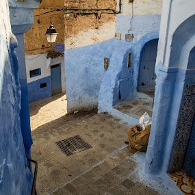 Shade in the medina by Elliot Moore - City,  Street & Park  Street Scenes ( chefchouen, medina shade )