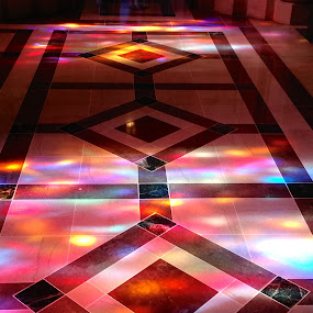 Cathedral floor in rainbow color. by Eric Eldritch - Buildings & Architecture Other Interior ( floor, washington dc, national cathedral, rainbow, , building, interior, worship )
