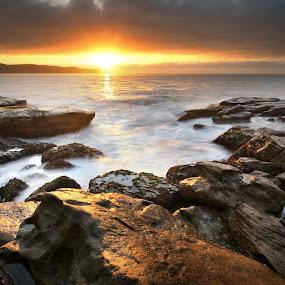 Sunrise On The Rocks by Geoffrey Wols - Landscapes Sunsets & Sunrises ( water, umina beach, sunset, glare, sunrise, central coast, rocks, sun,  )