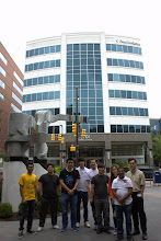 Photo: BAST Lab 2013: Kiran, U Kei, Paul, Jong, Kevin, Hoyeon, Wonjin, Gaurav, and Dr. Kim (left to right) at the front of science center.