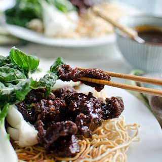 Mongolian Beef and Baby Bok Choy Stir-Fry with Crispy Chow Mein Noodles.