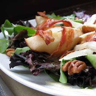 Roasted Bacon-Wrapped Pears with Greens and Mustard Dressing