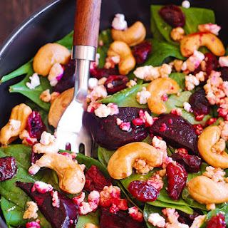 Beet Salad with Spinach, Cashews, and Goat Cheese Recipe