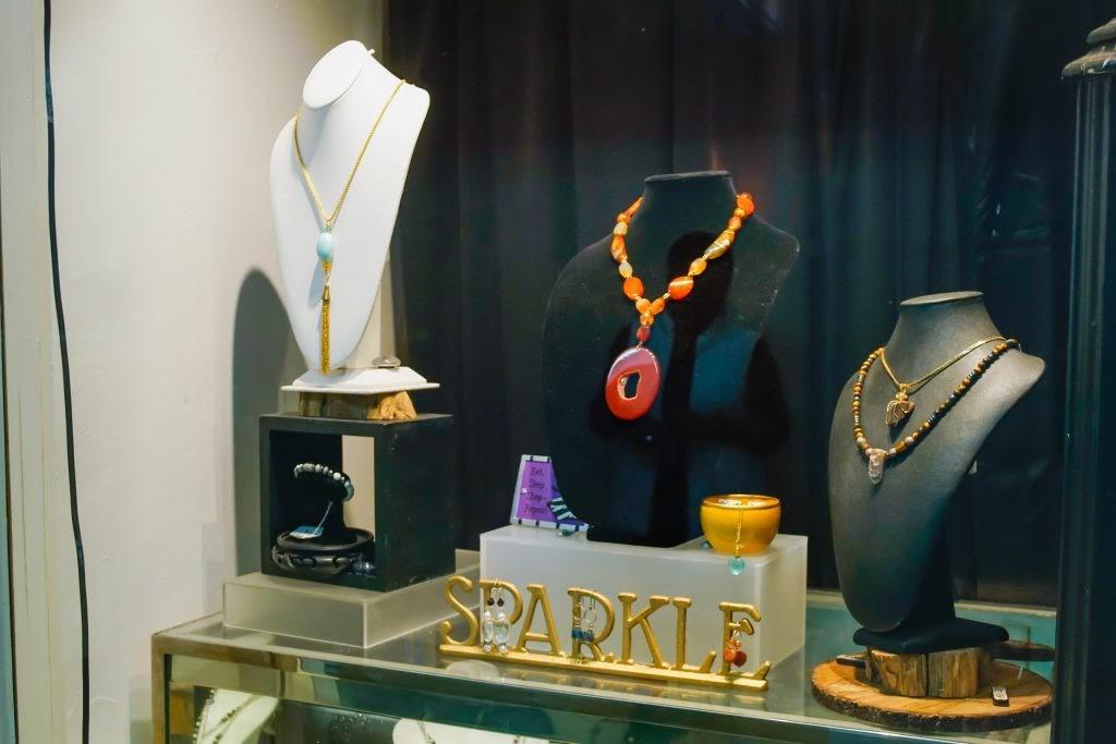 Uneena's: Necklaces in Window Display