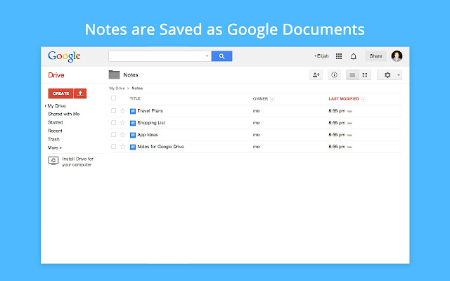 Notes for Google Drive