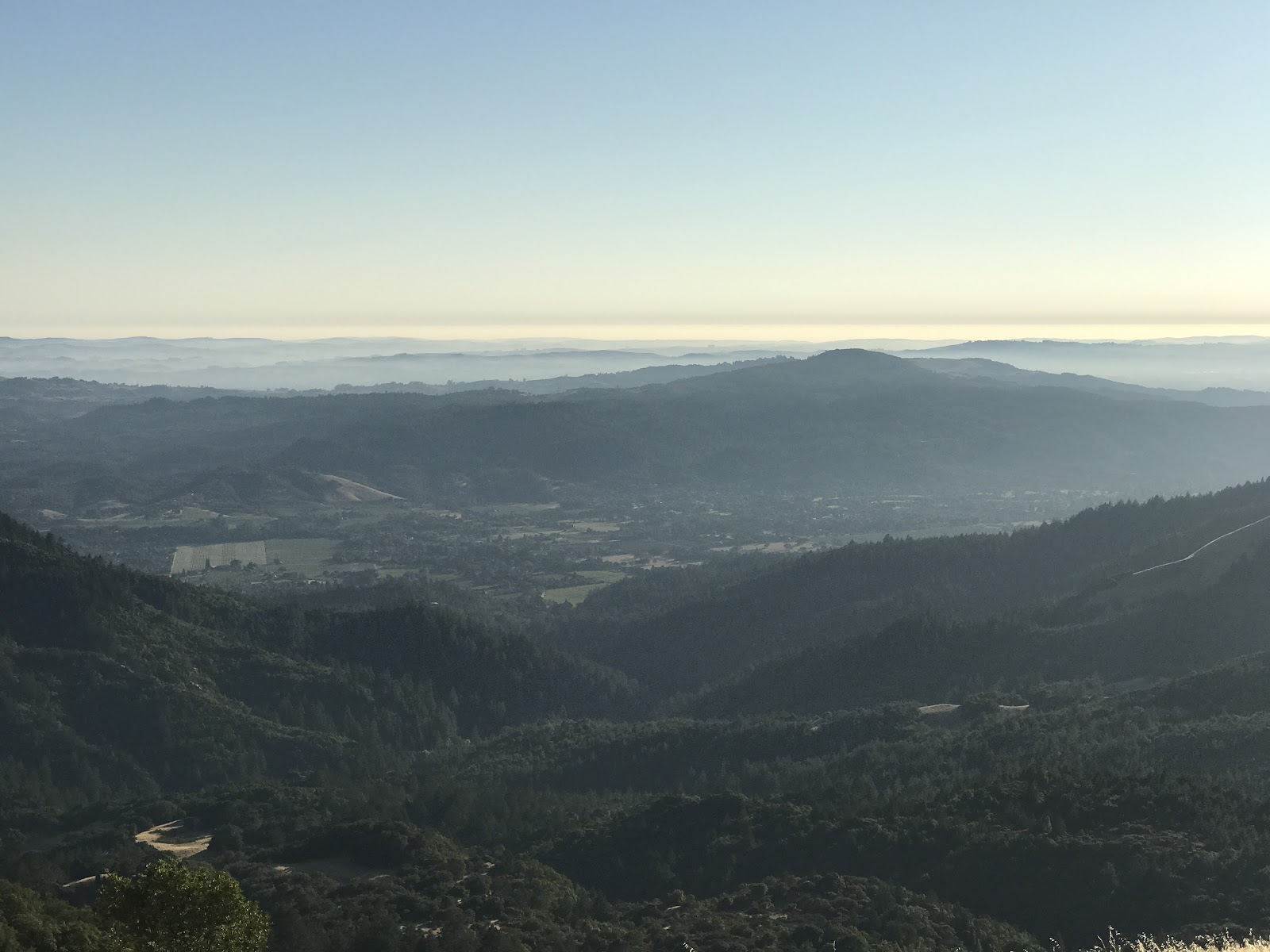 Bicycle ride to Bald Mountain - view from top to west and sonoma valley