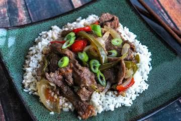 Pepper Steak on Rice