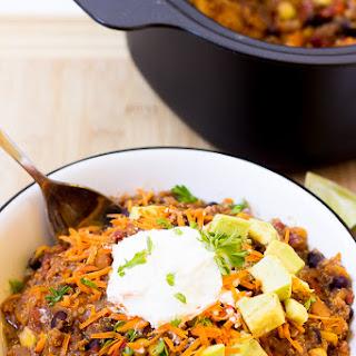 Slow Cooker Sweet Potato, Quinoa and Black Bean Chili