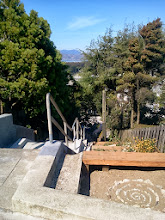Photo: View from the top of the Hidden Garden Steps site (16th Avenue, between Kirkham and Lawton streets in San Francisco's Inner Sunset District) on October 14, 2013--several days before shrubs on the left-hand side of this photo were trimmed back to further reveal views from and of the Steps. Installation of the 148-step Hidden Garden Steps ceramic-tile mosaic designed and created by artists Aileen Barr and Colette Crutcher is scheduled to begin before the end of October 2013. For more information about this volunteer-driven community-based project supported by the San Francisco Parks Alliance, the San Francisco Department of Public Works Street Parks Program, and hundreds of individual donors, please visit our website at http://hiddengardensteps.org.