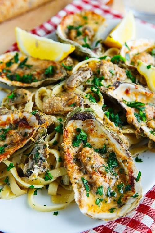 "Chargrilled Oyster Pasta ""Since chargrilled oysters are grilled, I topped the pasta..."
